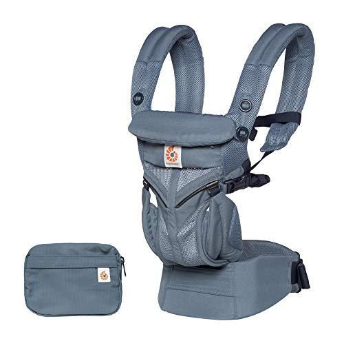 Ergobaby Babytrage für Neugeborene, 4-Positionen Cool Air Mesh Omni 360 Oxford Blau, Baby-Tragetasche Kindertrage Rückentrage