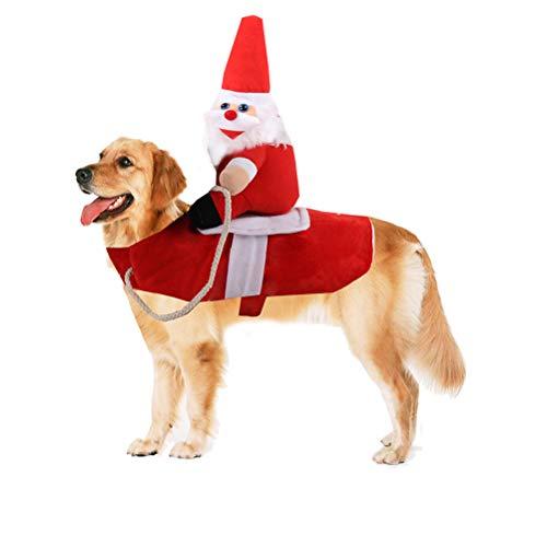 BSTOPSEL Hundekostüm für Weihnachten, lustiger Weihnachtsmann, Reitausrüstung, für Rollenspiele und Cosplay