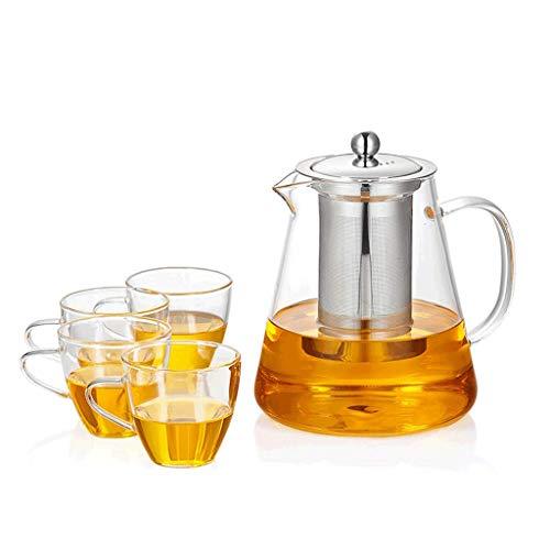Teekannen, 4 Tassen, Bambusschale, Edelstahlfilter, Hitzebeständig, Hochtemperaturbeständig, Verdickt, Anti-Burst