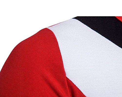 Mode Patchwork Print Shirt Tops Für Herren, Amlaiworld Turn-Down Kragen Kurzarm T-Shirt Bluse Rot