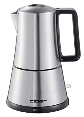 Cloer 5928 Espresso Maker 365 W for 3-6 Cups Espresso Stainless Steel Case