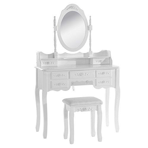 Woltu mb6026cm tavolo da trucco specchiera con sgabello ben imbottito tavoli cosmetici toeletta con 7 cassetti in legno specchio inclinabile bianco