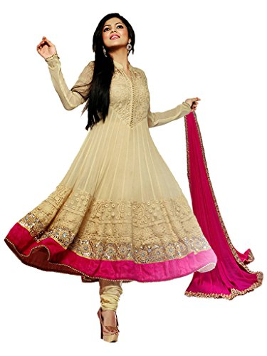 Fashion Fiza Women\'s Net Anarkali Suit (1077_Cream_48)
