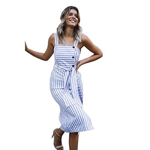 feiXIANG Damen Maxi-Kleid Ärmellos Retro Lady Beach Kleid Sling Dress Elegant Schlank Streifen Etuikleid Strandkleider Mit ()