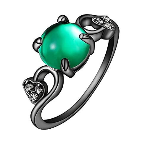 Sanwood Women's Faux Opal Statement Ring Zircon Jewelry (Green US 7)