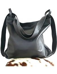 Borsa e zaino in pelle artigianale convertibile colore nero