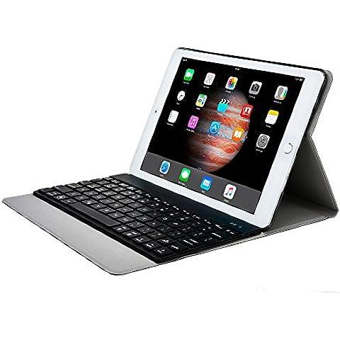 Funda tipo folio Aurora de Cooper Cases(TM) para iPad 2 de Apple en Negro (Reposo/ activación automático; teclado Bluetooth 3.0 magnético extraíble; teclado QWERTY con 78 teclas; retroiluminación LED en 7 colores)