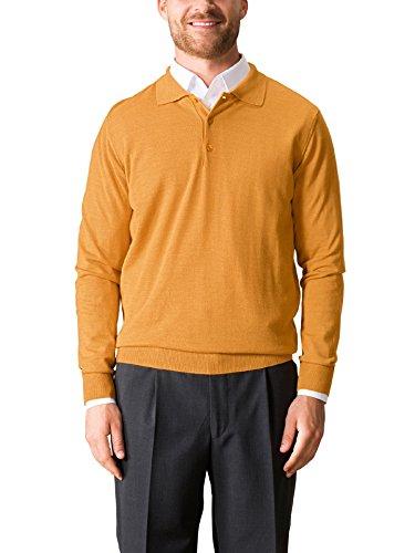 Merino-polo-pullover (Walbusch Herren Merino-Mix Polo-Pullover einfarbig Bernsteingelb 56)