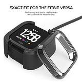 Caseflex Fitbit Versa Screen Protector Case, Dual Armour TPU Gel Bumper with Built in Screen Guard - Ultra Slim 360 Protection Cover For the Fitbit Versa - Black - CF-AZ01-Z124