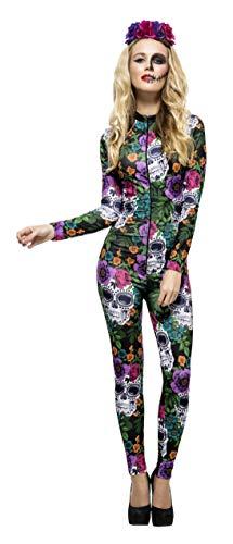 Smiffys Fever, Damen Tag der Toten Kostüm, Catsuit und Rosen-Stirnband, Größe: S, 44536