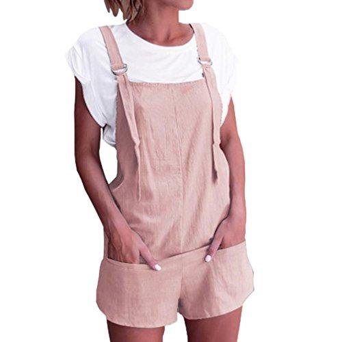 Mono Largo Mujeres ❤️JiaMeng Pijamas elásticos de la Cintura de Las Mujeres Pantalones de algodón de Lino Mamelucos Mono Corto (XL, Rosado)