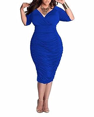 BIUBIU Women Plus Size Deep V Neck Draped Bodycon Midi Dress UK 14-20
