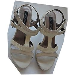 Victoria Delef Damen Pumps Sandalen Gr. 38 Farbe: Hellgrau High Heels