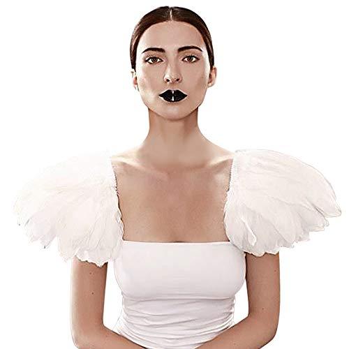 Homelex Gotisch Weiß Wirklich Feder Epaulette Schulter Flügel Für Männer Damen ()