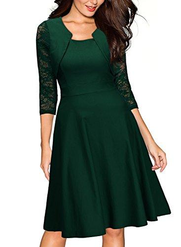 Miusol Damen Abendkleid Elegant Cocktailkleid Vintage Kleider 3/4 Arm mit Spitzen Knielang Party Kleid Gruen Gr.XL - 2