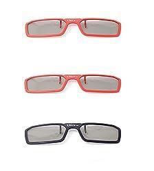 Ultra 3 Paare von Clip Auf Passiven 3D-Brillen 2 Rot 1 Schwarz für Männer Frauen Geeignet Verschreibungspflichtige Brillen Rundschreiben polorized Eyewear-Stil alle Passivfernsehkinos Wie RealdD
