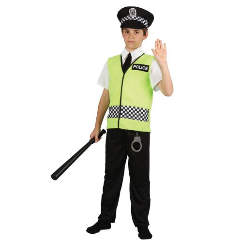 Officer Police Black Kostüm - Policeman Childrens Fancy Dress Costume Boys Police Officer Cop Outfit