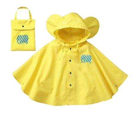 Mainaisi-Bambini-Poncho-Impermeabile-Waterproof-Big-Ear-con-Cappuccio-Button-Suit-GialloS80-100CM