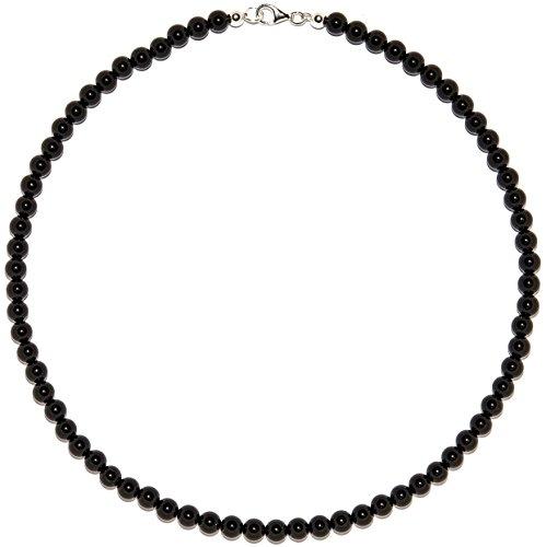 Onyx Schmuck (Halskette) Onyx Kette Kugeln Verschluss 925er Sterling-Silber