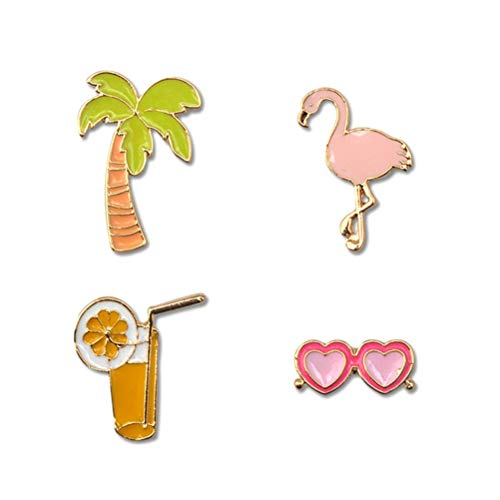 Amosfun 4 stücke Hawaiian Brosche Pins Brille Saft Tasse Kokosnussbaum Swan Revers Pin Breastpin Hawaiian Party Supplies