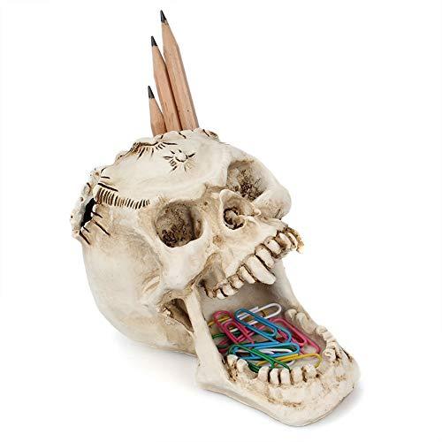 PowerBH Halloween Horror Kopf Skelett Stifthalter Reißzähne Horror Gesicht Büro Desktop Schreibwaren Stifthalter Aufbewahrungsbox Dekoration