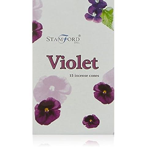 Stamford - Conos de incienso con aroma a violetas, lote de 12 paquetes