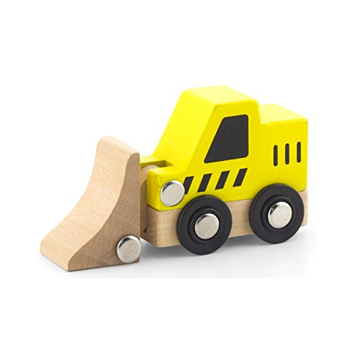 Viga 6 Wooden Construction Vehicles Set - Childrens Push Along Play Trucks