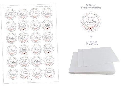 Flachbeutel WEIß 63 x 93 mm + 24 Sticker LASST UNSERE LIEBE WACHSEN PASTELL BLUMEN 4cm matt rund • Samen Gastgeschenke Tischdeko Hochzeit Familienfeier Geburtstag Taufe Geburt ()