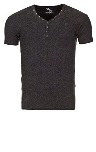 Young & Rich Herren V-Neck Big Button T-Shirt Basic Shirts anthracite melange