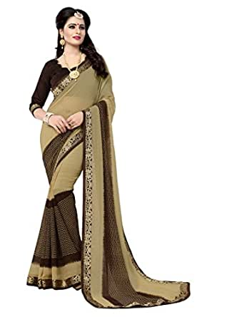 Oomph! Women's Chiffon Saree (rbaf_2496a_Buttermilk Beige)