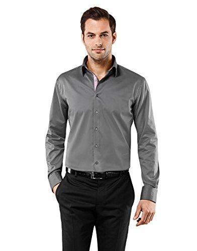 Vincenzo Boretti Herren-Hemd Bügelfrei 100% Baumwolle Regular-Fit Uni-Farben New-Kent Kragen - Männer Lang-Arm Hemden für Anzug mit Krawatte Business H Dunkelgrau/Weinrot 41/42 (Krawatte Fit)