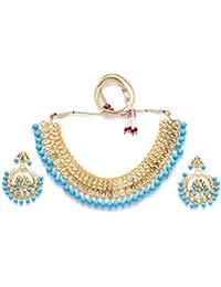 Zevarcraft Alloy Blue And Gold Color Necklace Set For Women Ze-001