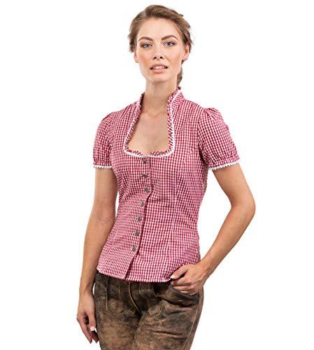 Trachtenbluse Jasmin - Elegante, Karierte und taillierte Bluse - mit schönen Herzknöpfen Jasmin (42, Rot/Weiss)