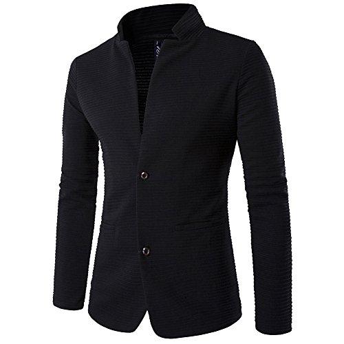 ZhuiKun Chaquetas Blazer Hombre Casual Slim Fit Dos Botones Chaqueta Corto Abrigo Negro 3XL