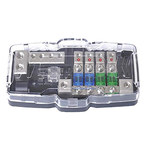 GreatFun Multi-Functional LED Car Audio Stereo Mini Fuse Box with 4 Way Fuse Block LED Warning Indicator for Boat Van Car Truck Marine (Marine Stereo Cover)