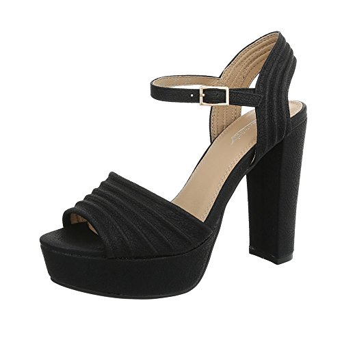 Ital-Design High Heel Sandaletten Damen-Schuhe Pump Heels Schnalle Sandalen & Schwarz, Gr 39, By99022-Sp- -
