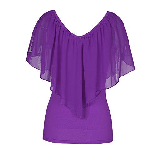 SUNNOW® Elegant Damen T-Shirt Casual kurzarm dünne Fedemaus Ärmel Chiffon Tops Bluse Sommer Lila