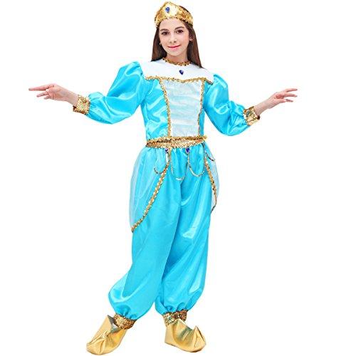 Vestito costume maschera di carnevale bambina - jasmine - taglia 6/7 anni - 107 cm