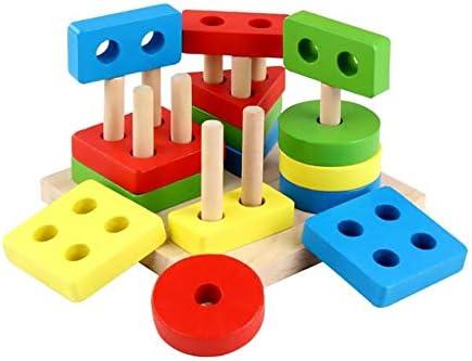 Niulyled Jouet en bois en bois, jouets jouets jouets éducatifs en bois Forme en bois Couleur Triant le bloc Jouets éducatifs préscolaires Blocs Toddler Puzzles Jouets Pour garçons Filles | Pas Chers  2dec73