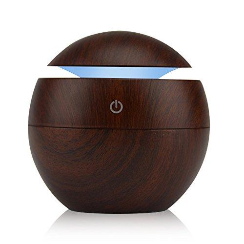KBEDY 130ML Difusor de aceite esencial, humidificador de aire de aromaterapia ultrasónica de grano de madera USB Mini Cool Mist Maker con 7 colores de luz LED para oficina en casa Dormitorio