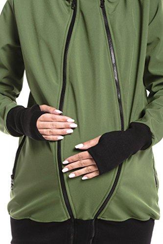 Zeta Ville - Umstands Softshell Mäntel Kapuze herausnehmbaren Panel Damen - 056c Grün