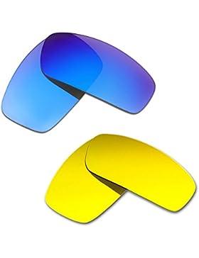 Hkuco Plus Mens Replacement Lenses For Oakley Monster Pup Blue/24K Gold Sunglasses