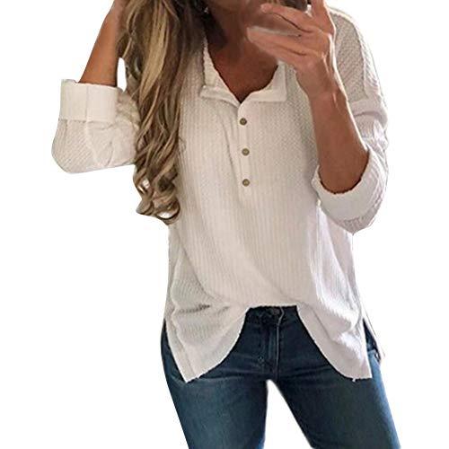 ESAILQ Frau Langarm Pullover Pullover Pullover Strickpullover Tops(M,Weiß)