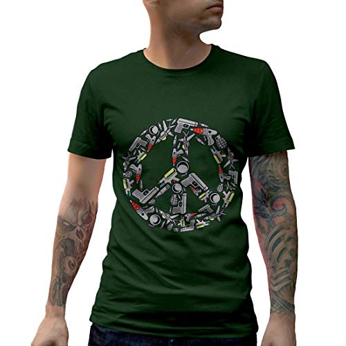 C601MCNTFG Herren T-Shirt Peace Religion Sign Victory War World Revolution Justice Street Retro(Medium,Forest Green) -
