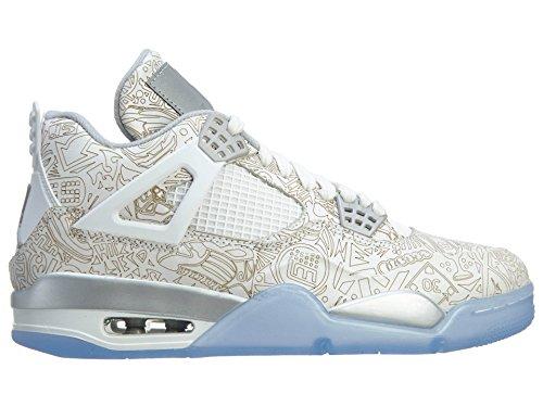 Nike Air Jordan 4 Retro Laser, Chaussures de Sport Homme, Blanc Multicolore - Blanco / Gris (White / Chrome-Metallic Silver)