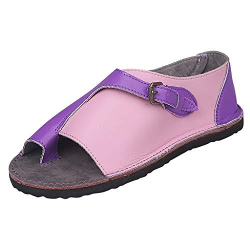 Sandalen für Damen,Dorical Frauen-Römische Art-weiche Bequeme Freizeit-Flache Sandalen-Schnallen-Flache Strand-Sandalen 35-43 EU Reduziert(Lila-1,37 EU)