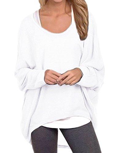 Cindeyar Asymmetrisch Pullover Pulli Oversize Strickjacke Longshirt Tunika Elegant Langarm Oberteile Tops T-shirt (X-Large, Weiß)