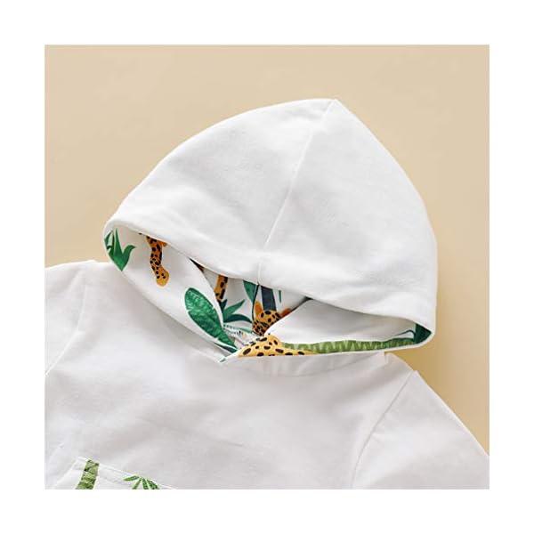 Kfnire [Conjunto de 2 piezas] Sudadera con capucha de leopardo + Pantalones Para Bebé 4