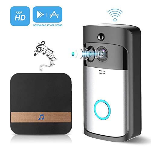 Sliwei Wireless Video Campanello Senza Fili Videocitofono con Wireless Ding-dong 720P HD WiFi Funziona con Alexa,Audio bidirezionale,PIR Rilevazione del Movimento,Visione Notturna
