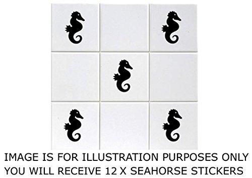 Preisvergleich Produktbild PRO CUT GRAPHICS Fliesenaufkleber,  Motiv: Seepferdchen,  passend für 15-cm-Fliesen,  für Badezimmer,  Geschäft,  Büro,  Zuhause,  Café,  Hotel,  Vinyl,  12 Stück